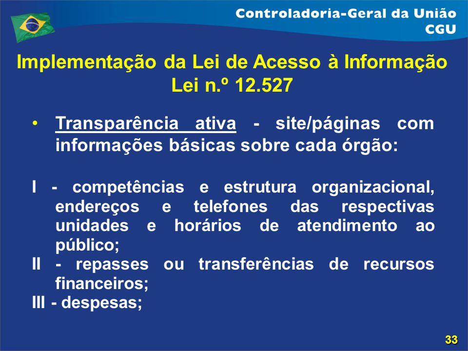 Transparência ativa - site/páginas com informações básicas sobre cada órgão: I - competências e estrutura organizacional, endereços e telefones das re