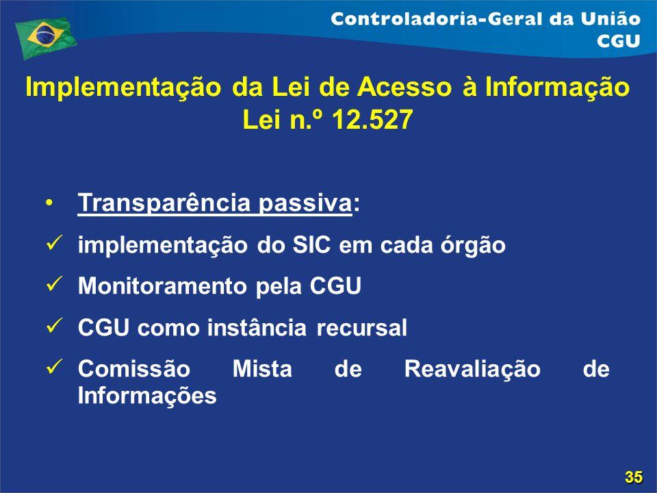 Transparência passiva: implementação do SIC em cada órgão Monitoramento pela CGU CGU como instância recursal Comissão Mista de Reavaliação de Informaç