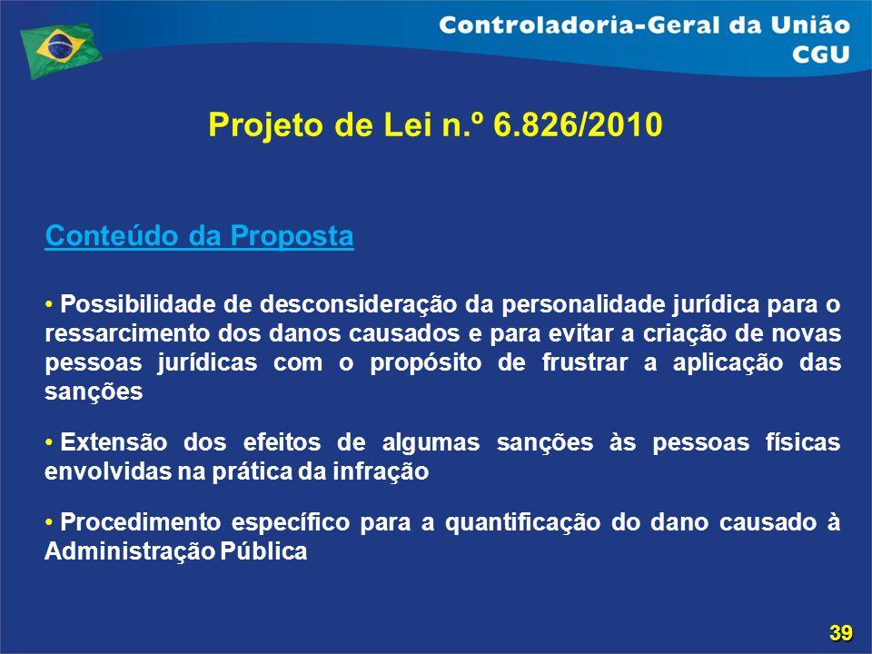 Projeto de Lei n.º 6.826/2010 Conteúdo da Proposta Possibilidade de desconsideração da personalidade jurídica para o ressarcimento dos danos causados