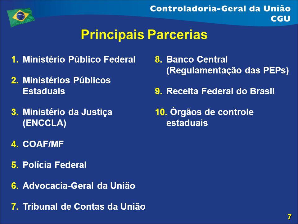 Ministério Público Federal Ministérios Públicos Estaduais Ministério da Justiça (ENCCLA) COAF/MF Polícia Federal Advocacia-Geral da União Tribunal de