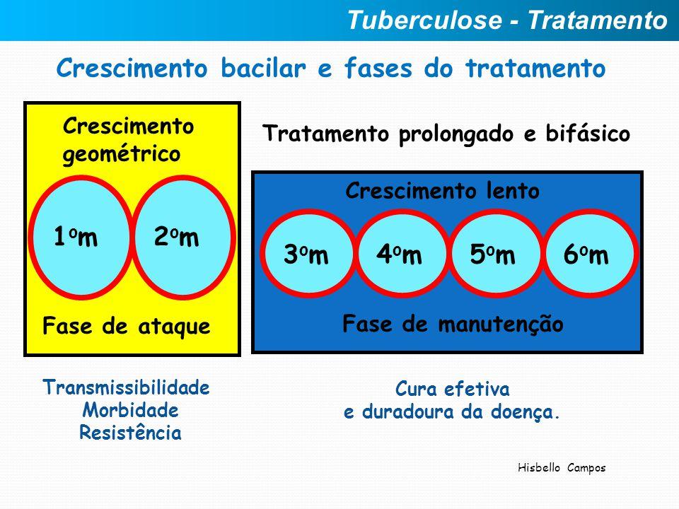 Crescimento bacilar e fases do tratamento 1om1om2om2om Transmissibilidade Morbidade Resistência Crescimento geométrico Fase de ataque Tratamento prolo