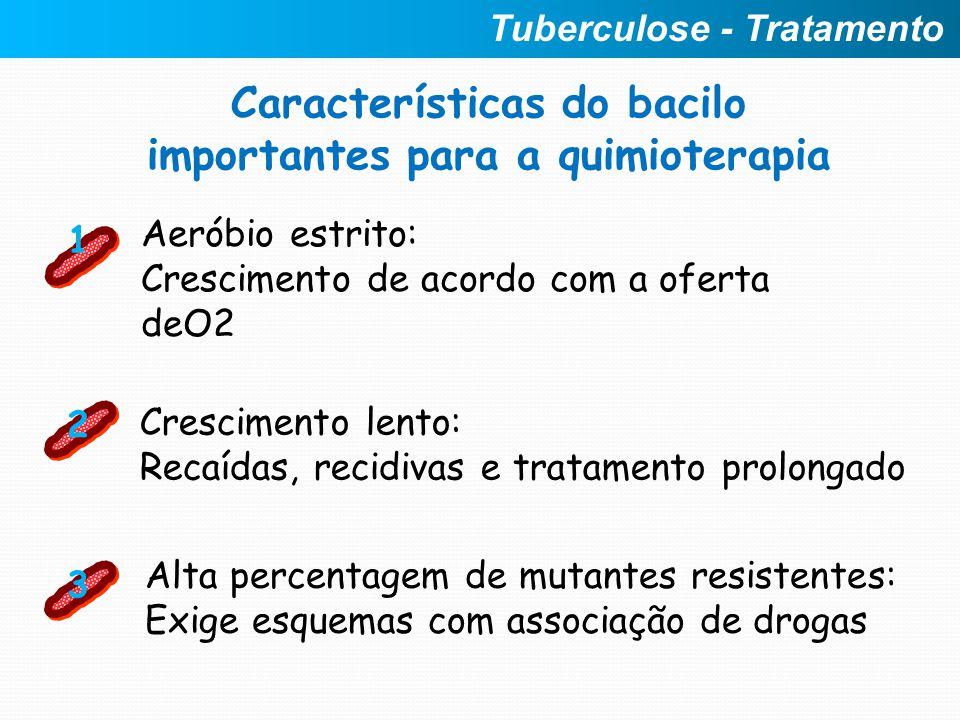 Características do bacilo importantes para a quimioterapia Crescimento lento: Recaídas, recidivas e tratamento prolongado 2 Aeróbio estrito: Crescimen