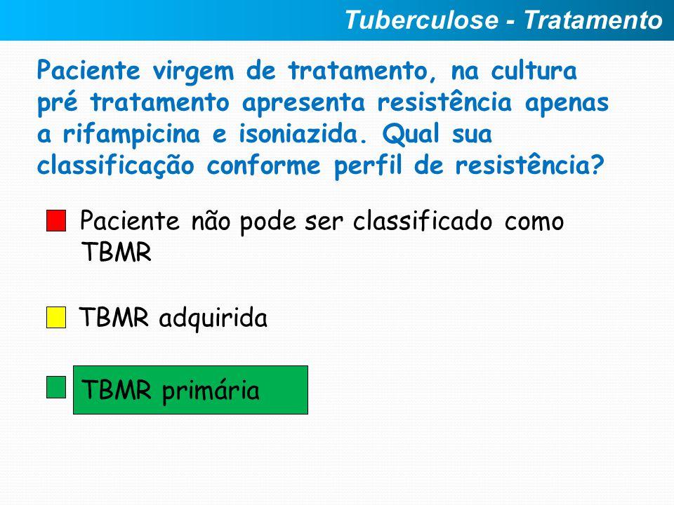 Paciente não pode ser classificado como TBMR TBMR adquirida TBMR primária Tuberculose - Tratamento Paciente virgem de tratamento, na cultura pré trata