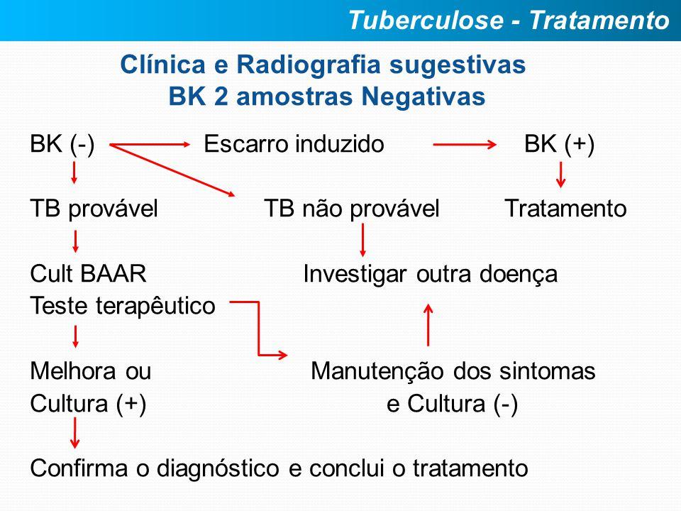 Clínica e Radiografia sugestivas BK 2 amostras Negativas BK (-) Escarro induzido BK (+) TB provável TB não provável Tratamento Cult BAAR Investigar ou