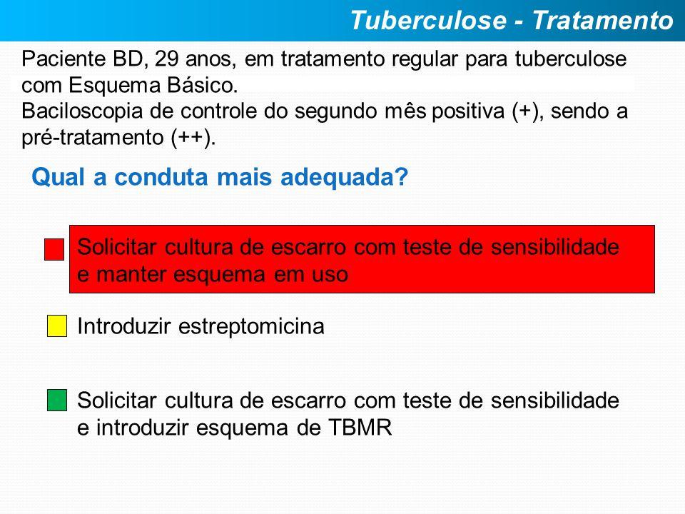Paciente BD, 29 anos, em tratamento regular para tuberculose com Esquema Básico. Baciloscopia de controle do segundo mês positiva (+), sendo a pré-tra