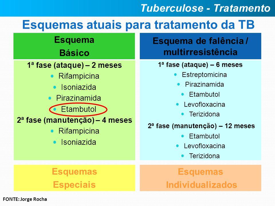 Esquemas atuais para tratamento da TB Esquema Básico 1ª fase (ataque) – 2 meses Rifampicina Isoniazida Pirazinamida Etambutol 2ª fase (manutenção) – 4