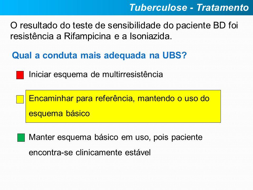 O resultado do teste de sensibilidade do paciente BD foi resistência a Rifampicina e a Isoniazida. Tuberculose - Tratamento Qual a conduta mais adequa
