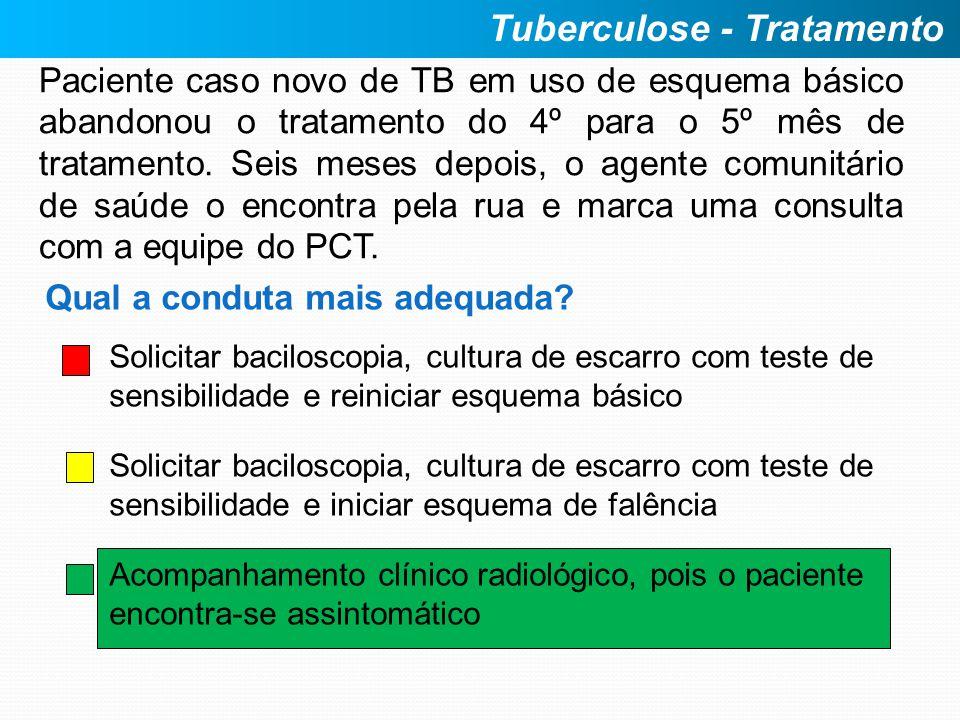 Paciente caso novo de TB em uso de esquema básico abandonou o tratamento do 4º para o 5º mês de tratamento. Seis meses depois, o agente comunitário de