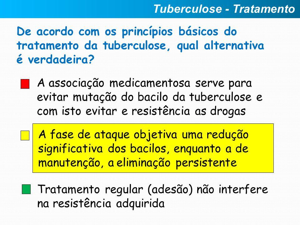 A associação medicamentosa serve para evitar mutação do bacilo da tuberculose e com isto evitar e resistência as drogas A fase de ataque objetiva uma