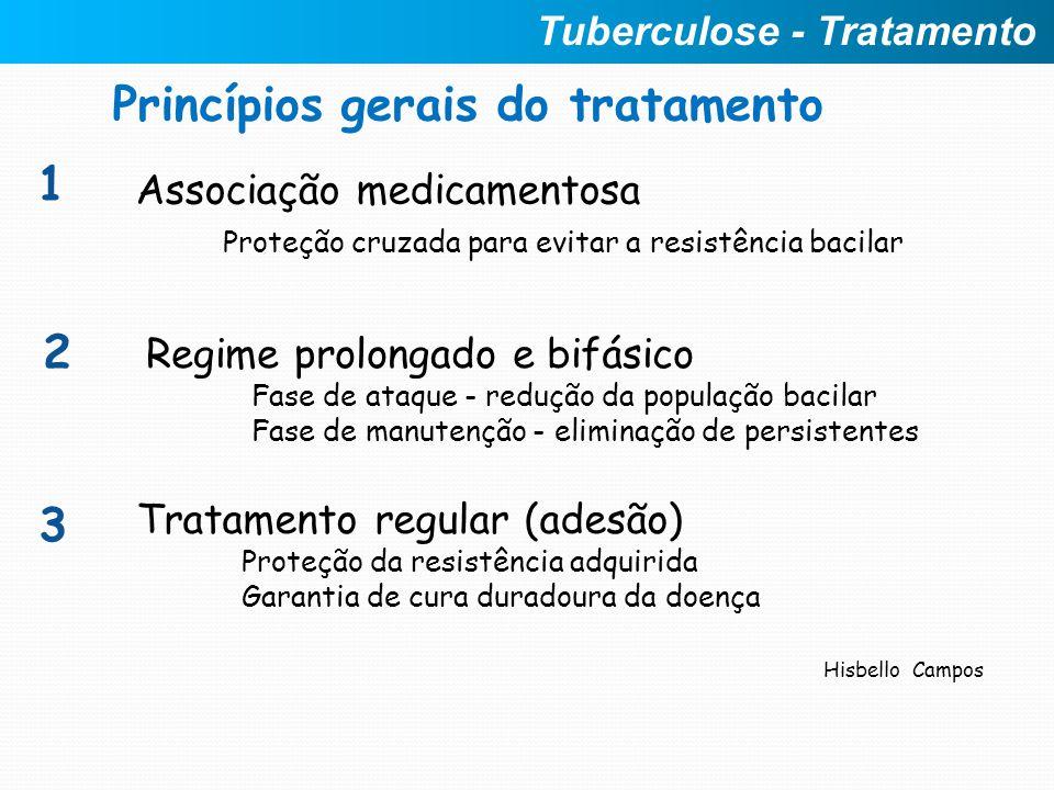 Princípios gerais do tratamento Associação medicamentosa Proteção cruzada para evitar a resistência bacilar 1 2 Regime prolongado e bifásico Fase de a