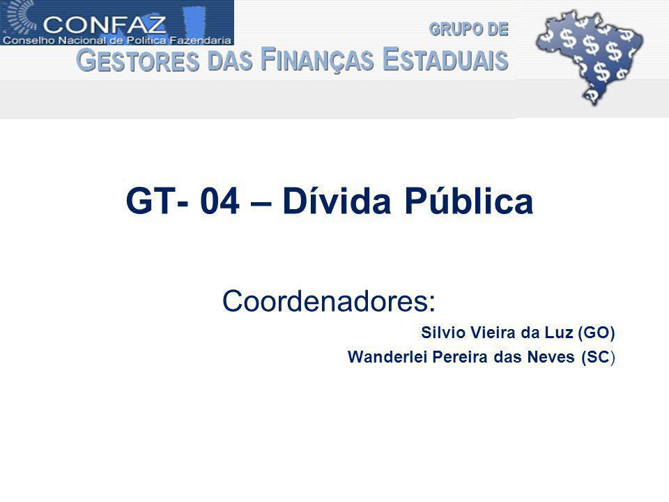 GT- 04 – Dívida Pública Coordenadores: Silvio Vieira da Luz (GO) Wanderlei Pereira das Neves (SC)