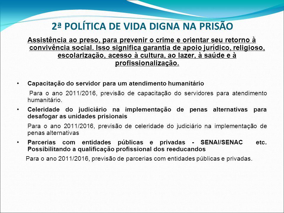 2ª POLÍTICA DE VIDA DIGNA NA PRISÃO Assistência ao preso, para prevenir o crime e orientar seu retorno à convivência social. Isso significa garantia d