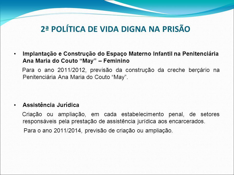 2ª POLÍTICA DE VIDA DIGNA NA PRISÃO Implantação e Construção do Espaço Materno Infantil na Penitenciária Ana Maria do Couto May – Feminino Para o ano 2011/2012, previsão da construção da creche berçário na Penitenciária Ana Maria do Couto May.