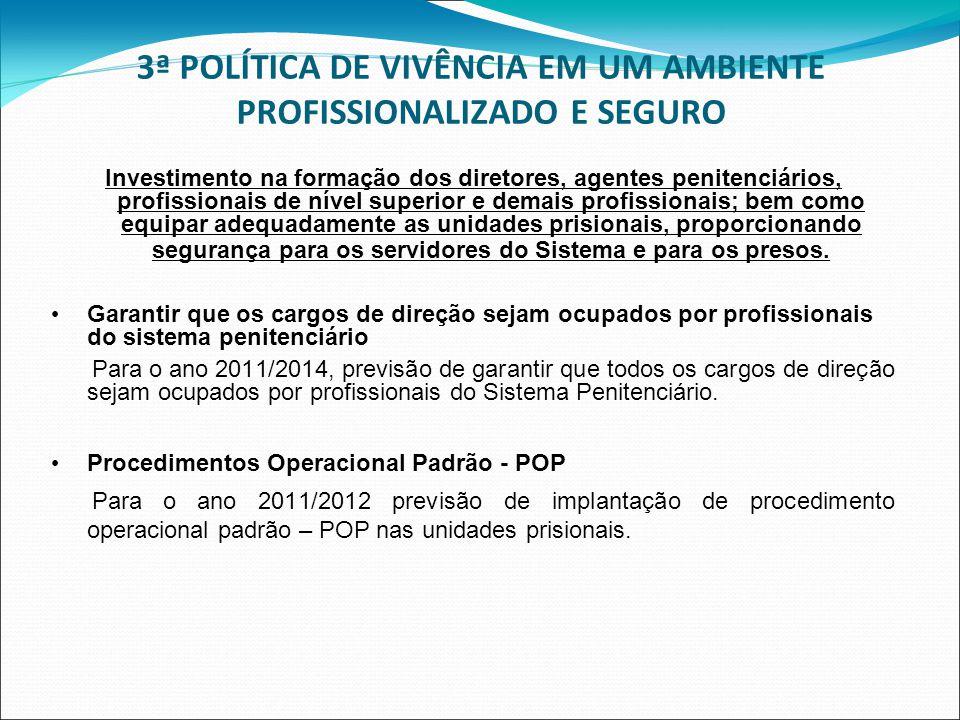 3ª POLÍTICA DE VIVÊNCIA EM UM AMBIENTE PROFISSIONALIZADO E SEGURO Investimento na formação dos diretores, agentes penitenciários, profissionais de nív