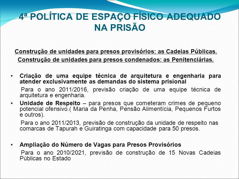 4ª POLÍTICA DE ESPAÇO FÍSICO ADEQUADO NA PRISÃO Construção de unidades para presos provisórios: as Cadeias Públicas. Construção de unidades para preso