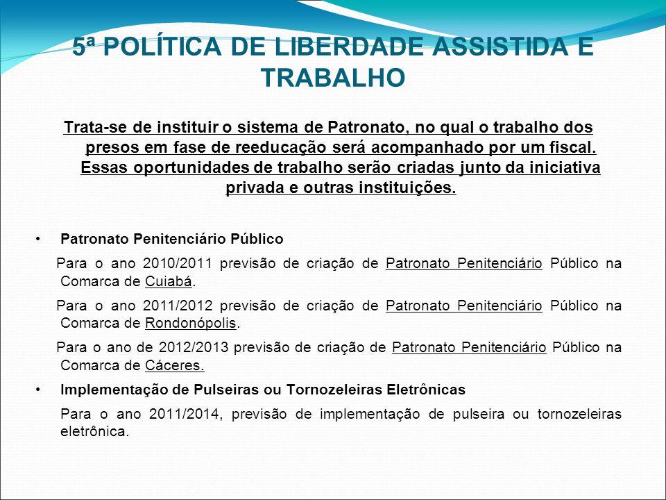 5ª POLÍTICA DE LIBERDADE ASSISTIDA E TRABALHO Trata-se de instituir o sistema de Patronato, no qual o trabalho dos presos em fase de reeducação será acompanhado por um fiscal.