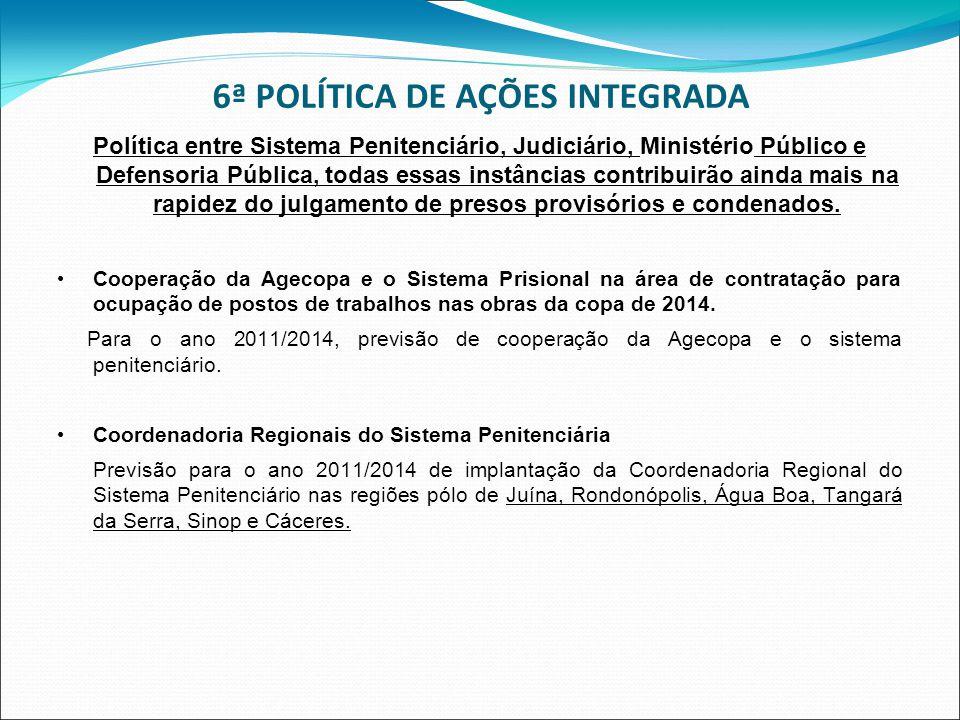 6ª POLÍTICA DE AÇÕES INTEGRADA Política entre Sistema Penitenciário, Judiciário, Ministério Público e Defensoria Pública, todas essas instâncias contr