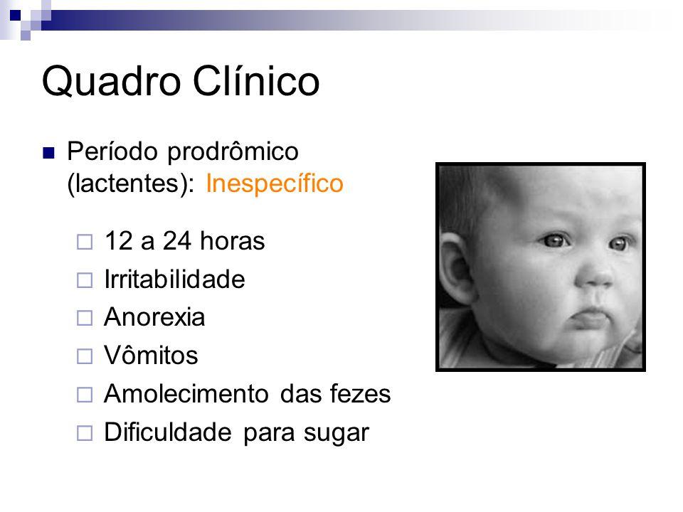 Quadro Clínico Período prodrômico (lactentes): Inespecífico 12 a 24 horas Irritabilidade Anorexia Vômitos Amolecimento das fezes Dificuldade para suga