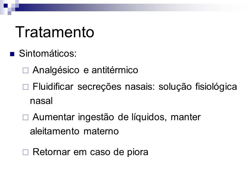 Tratamento Sintomáticos: Analgésico e antitérmico Fluidificar secreções nasais: solução fisiológica nasal Aumentar ingestão de líquidos, manter aleita