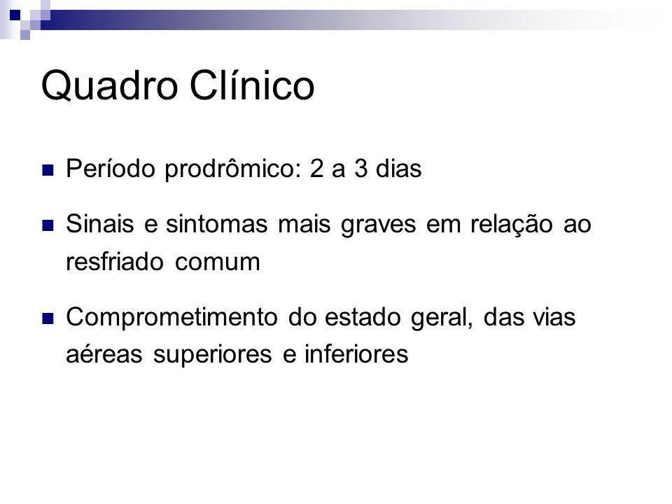 Quadro Clínico Período prodrômico: 2 a 3 dias Sinais e sintomas mais graves em relação ao resfriado comum Comprometimento do estado geral, das vias aé