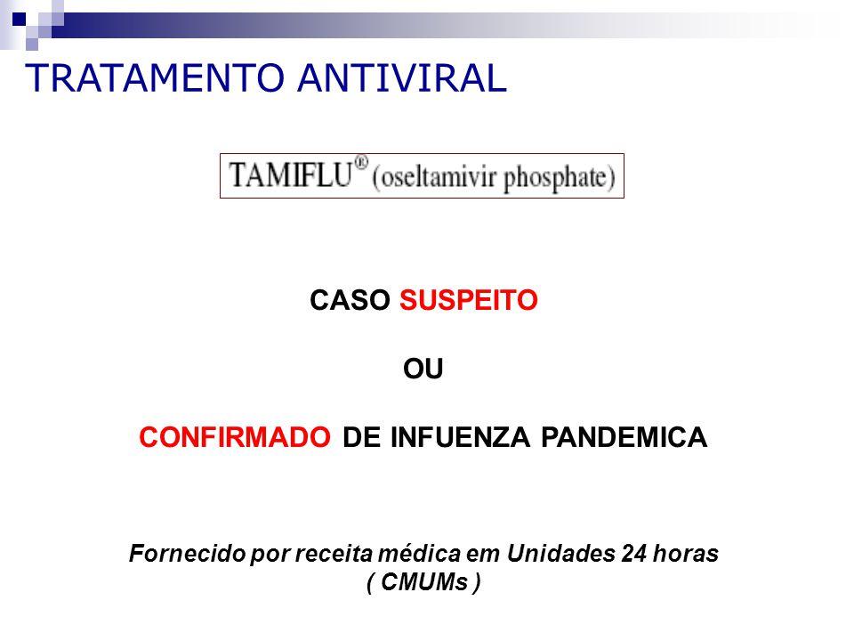 CASO SUSPEITO OU CONFIRMADO DE INFUENZA PANDEMICA Fornecido por receita médica em Unidades 24 horas ( CMUMs ) TRATAMENTO ANTIVIRAL