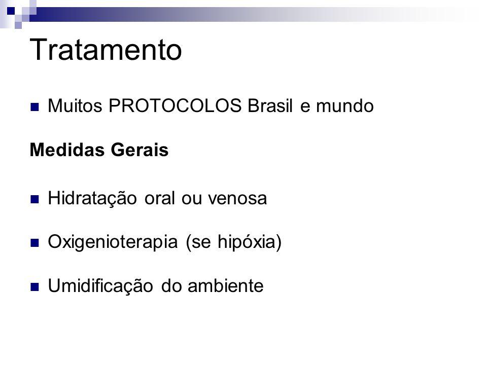 Tratamento Muitos PROTOCOLOS Brasil e mundo Medidas Gerais Hidratação oral ou venosa Oxigenioterapia (se hipóxia) Umidificação do ambiente