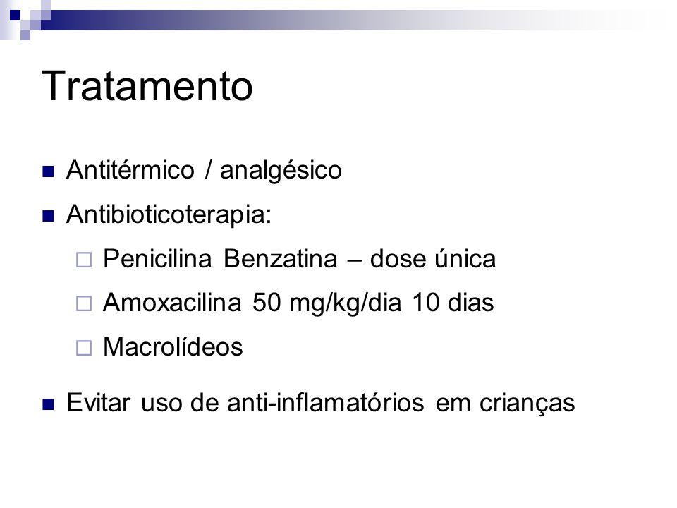 Tratamento Antitérmico / analgésico Antibioticoterapia: Penicilina Benzatina – dose única Amoxacilina 50 mg/kg/dia 10 dias Macrolídeos Evitar uso de a