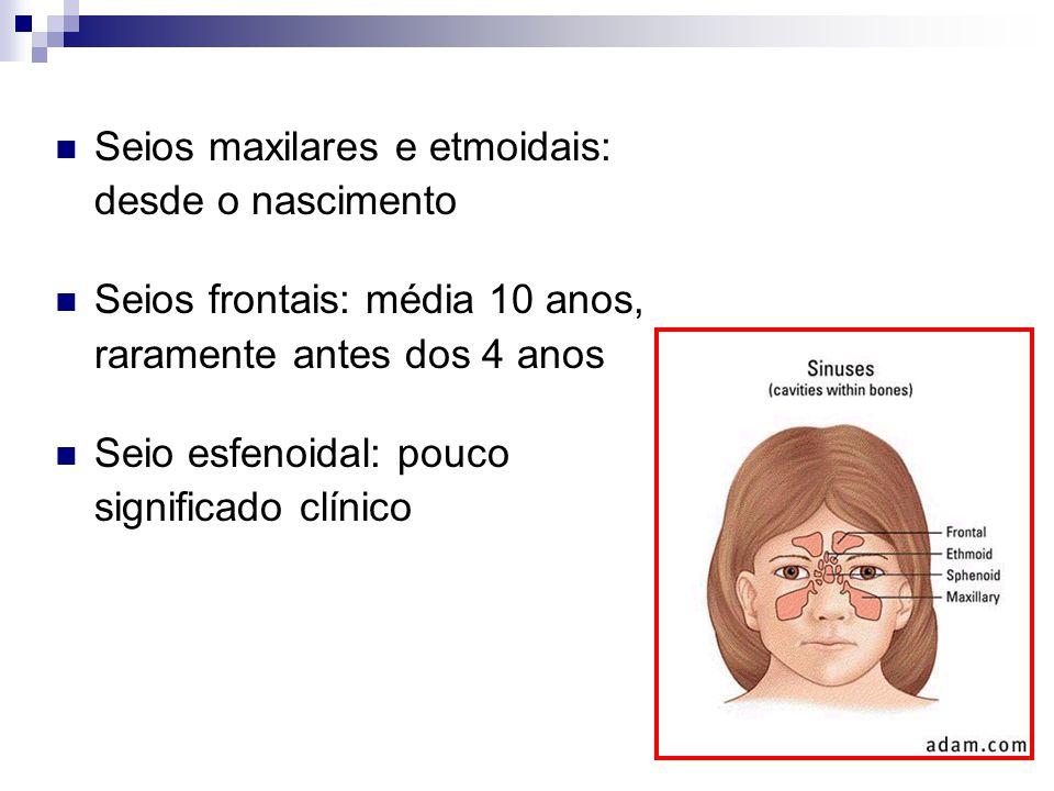 Seios maxilares e etmoidais: desde o nascimento Seios frontais: média 10 anos, raramente antes dos 4 anos Seio esfenoidal: pouco significado clínico
