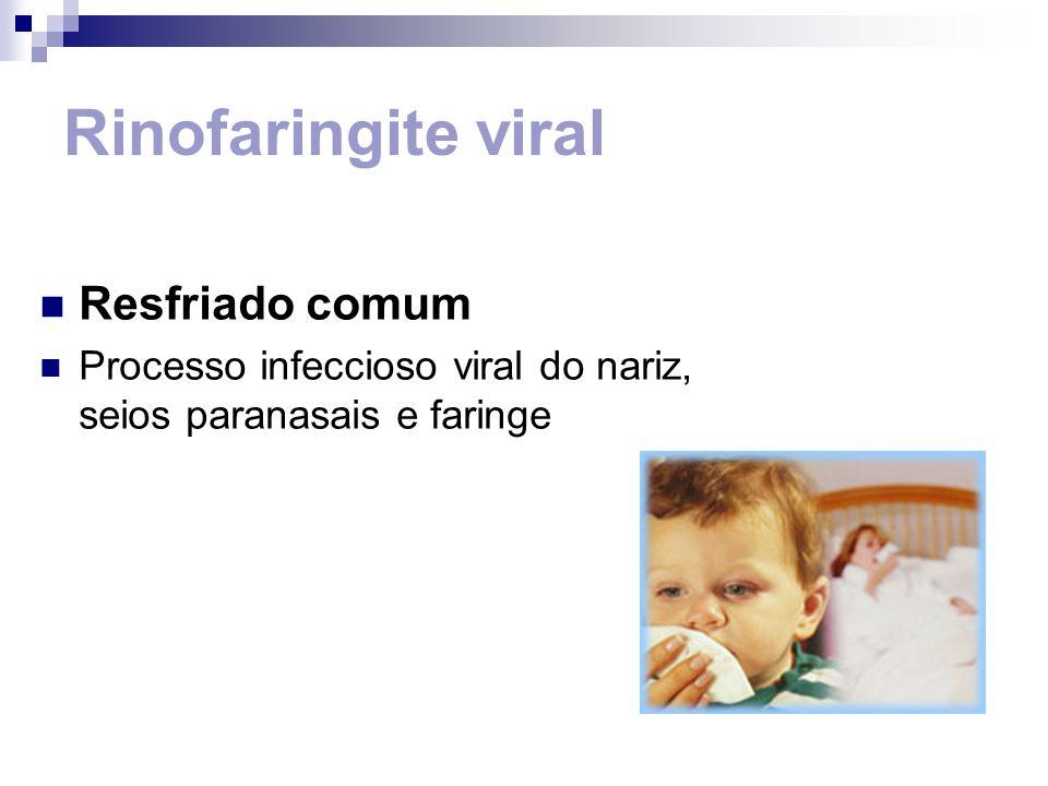 Tratamento Sintomáticos: Analgésico e antitérmico Fluidificar secreções nasais: solução fisiológica nasal Aumentar ingestão de líquidos, manter aleitamento materno Retornar em caso de piora