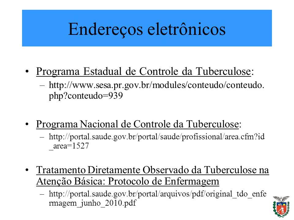 Endereços eletrônicos Programa Estadual de Controle da Tuberculose: –http://www.sesa.pr.gov.br/modules/conteudo/conteudo. php?conteudo=939 Programa Na