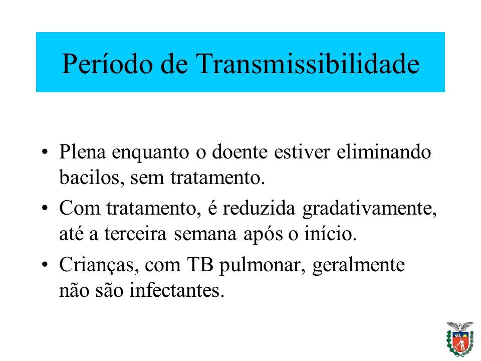 Período de Transmissibilidade Plena enquanto o doente estiver eliminando bacilos, sem tratamento. Com tratamento, é reduzida gradativamente, até a ter