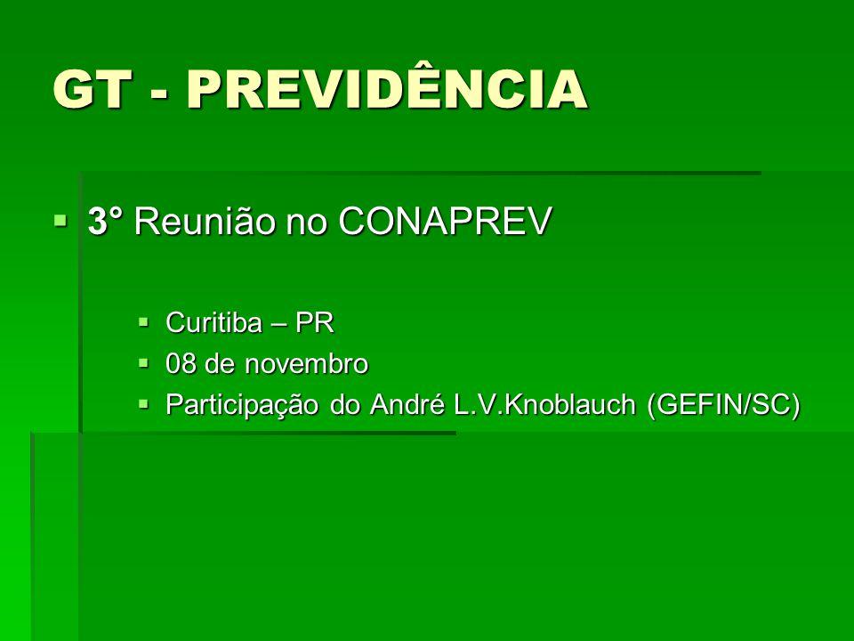 GT - PREVIDÊNCIA 3° Reunião no CONAPREV 3° Reunião no CONAPREV Curitiba – PR Curitiba – PR 08 de novembro 08 de novembro Participação do André L.V.Kno