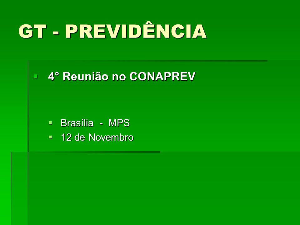 GT - PREVIDÊNCIA 4° Reunião no CONAPREV 4° Reunião no CONAPREV Brasília - MPS Brasília - MPS 12 de Novembro 12 de Novembro