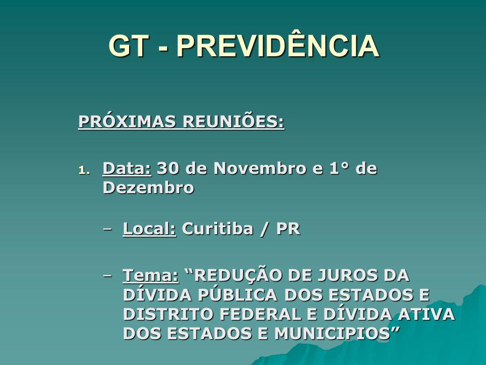 GT - PREVIDÊNCIA PRÓXIMAS REUNIÕES: 1. Data: 30 de Novembro e 1° de Dezembro –Local: Curitiba / PR –Tema: REDUÇÃO DE JUROS DA DÍVIDA PÚBLICA DOS ESTAD