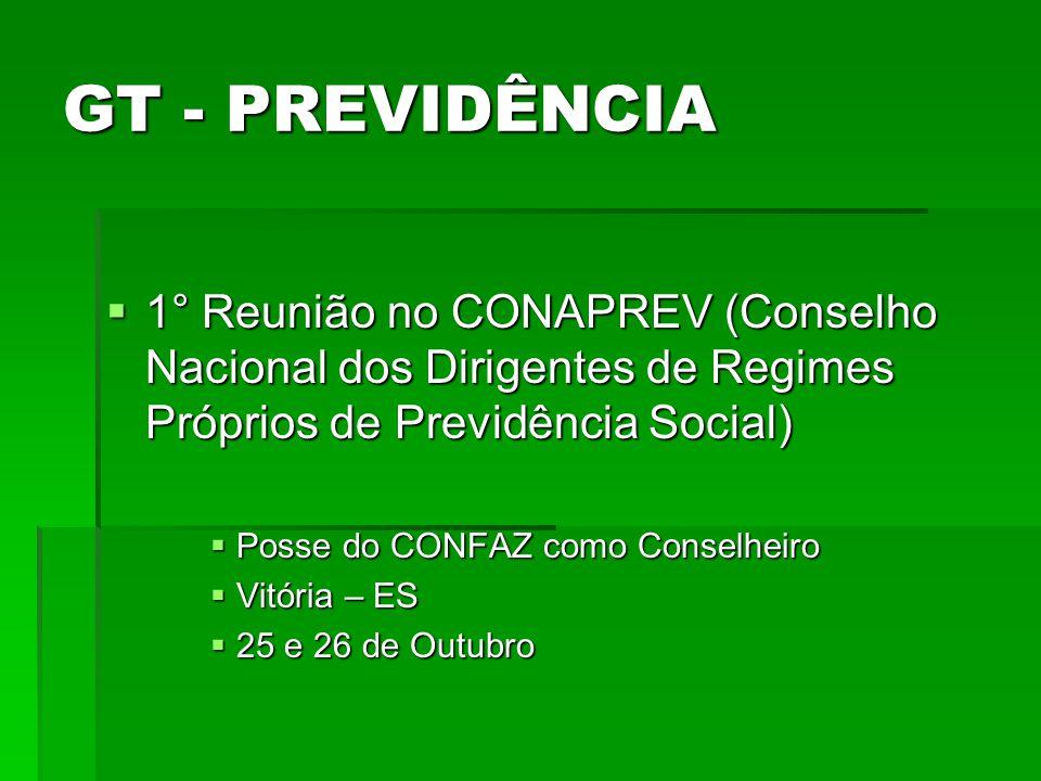 GT - PREVIDÊNCIA 1° Reunião no CONAPREV (Conselho Nacional dos Dirigentes de Regimes Próprios de Previdência Social) 1° Reunião no CONAPREV (Conselho