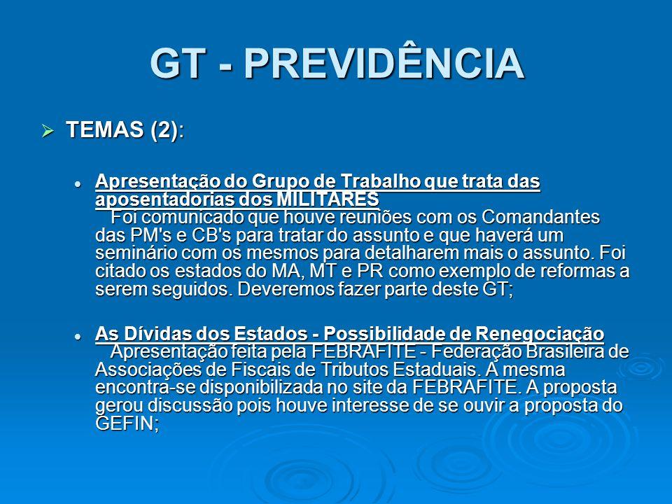 GT - PREVIDÊNCIA TEMAS (2): TEMAS (2): Apresentação do Grupo de Trabalho que trata das aposentadorias dos MILITARES Foi comunicado que houve reuniões