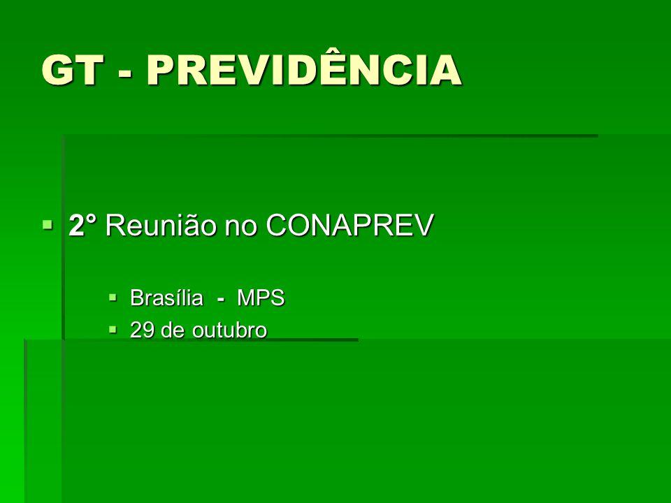 GT - PREVIDÊNCIA 2° Reunião no CONAPREV 2° Reunião no CONAPREV Brasília - MPS Brasília - MPS 29 de outubro 29 de outubro