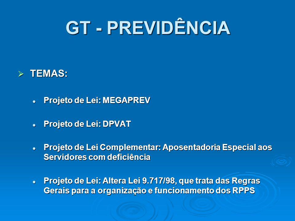 GT - PREVIDÊNCIA TEMAS: TEMAS: Projeto de Lei: MEGAPREV Projeto de Lei: MEGAPREV Projeto de Lei: DPVAT Projeto de Lei: DPVAT Projeto de Lei Complement