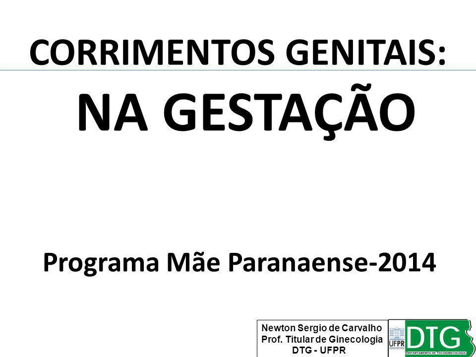 CORRIMENTOS GENITAIS: NA GESTAÇÃO Programa Mãe Paranaense-2014 Newton Sergio de Carvalho Prof. Titular de Ginecologia DTG - UFPR