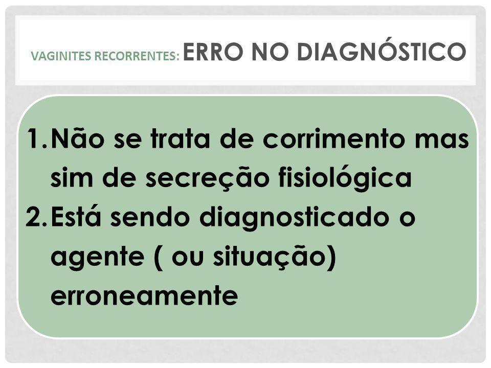 VAGINITES RECORRENTES: ERRO NO DIAGNÓSTICO 1.Não se trata de corrimento mas sim de secreção fisiológica 2.Está sendo diagnosticado o agente ( ou situa