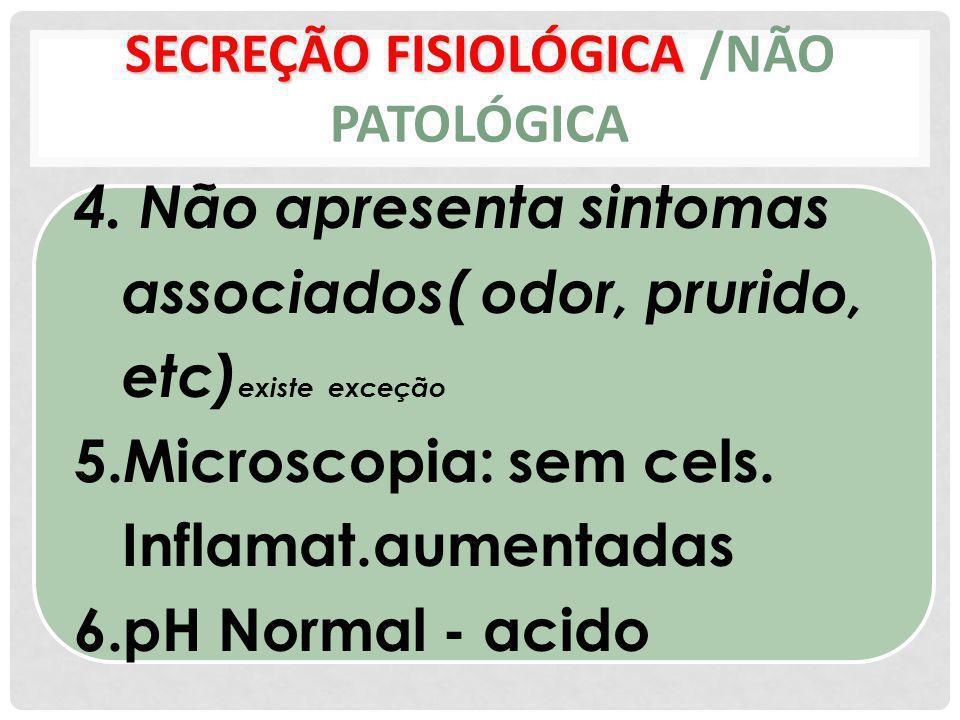 SECREÇÃO FISIOLÓGICA SECREÇÃO FISIOLÓGICA /NÃO PATOLÓGICA 4. Não apresenta sintomas associados( odor, prurido, etc) existe exceção 5.Microscopia: sem