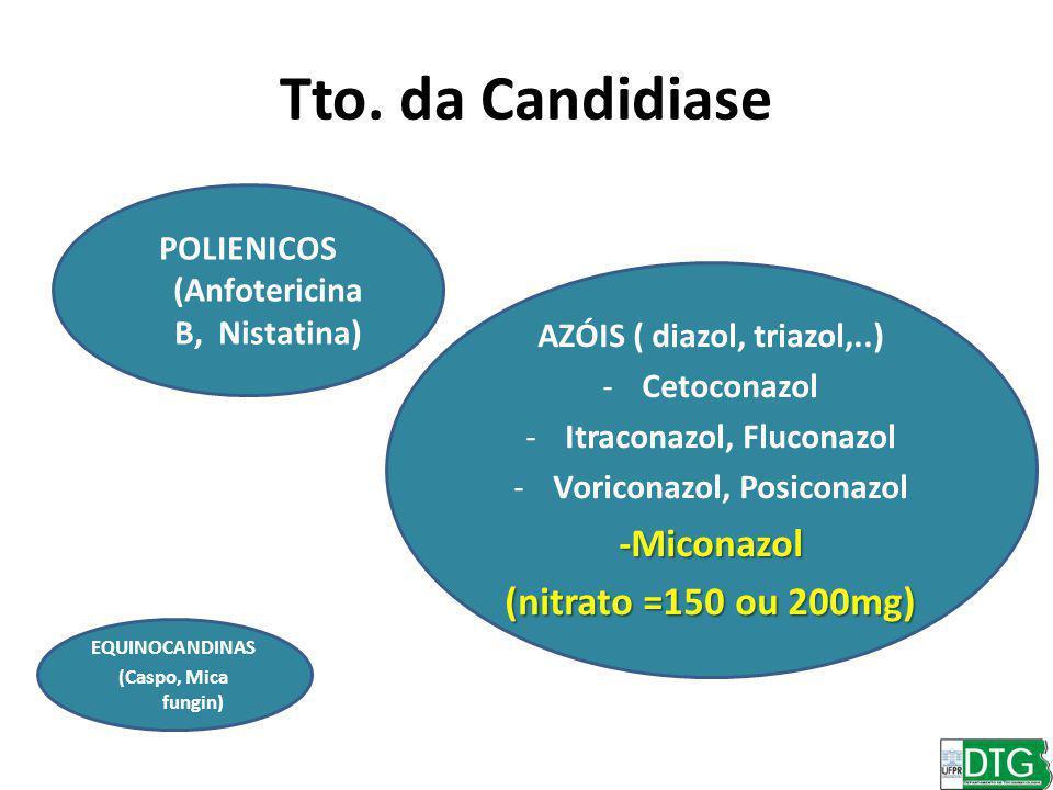 Tto. da Candidiase POLIENICOS (Anfotericina B, Nistatina) AZÓIS ( diazol, triazol,..) -Cetoconazol -Itraconazol, Fluconazol -Voriconazol, Posiconazol-