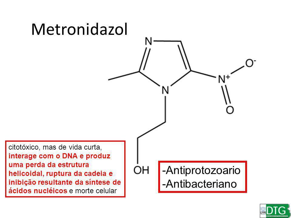 Metronidazol -Antiprotozoario -Antibacteriano citotóxico, mas de vida curta, interage com o DNA e produz uma perda da estrutura helicoidal, ruptura da cadeia e inibição resultante da síntese de ácidos nucléicos e morte celular