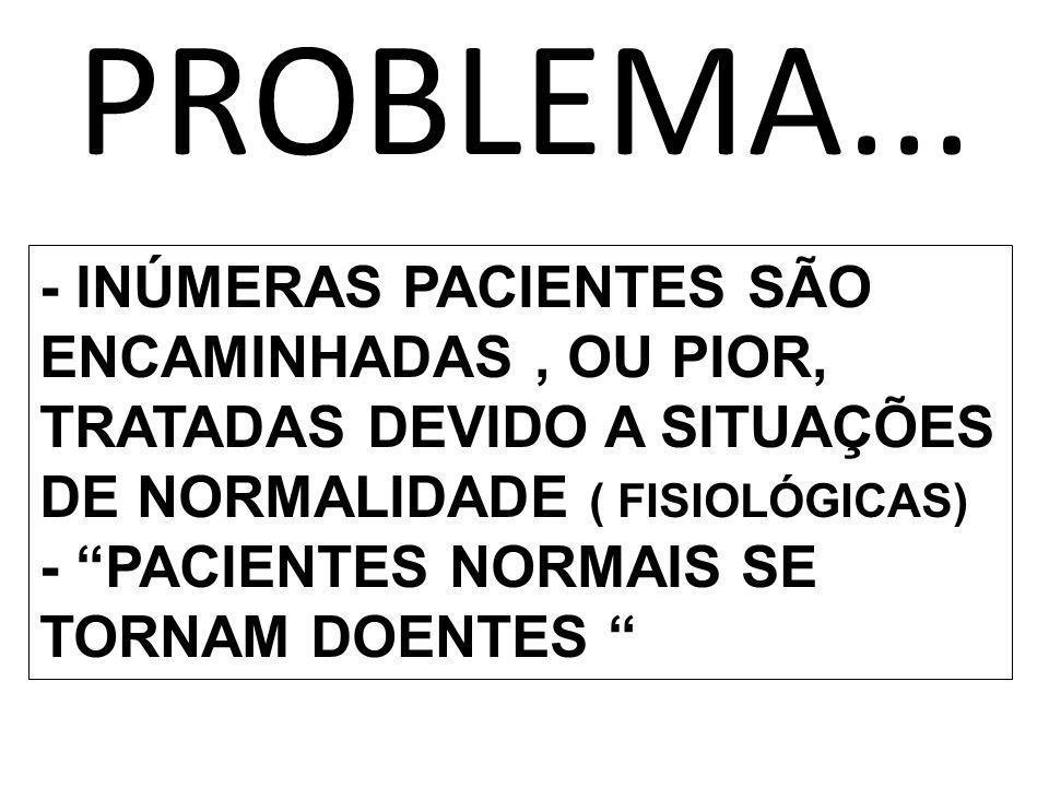 PROBLEMA... - INÚMERAS PACIENTES SÃO ENCAMINHADAS, OU PIOR, TRATADAS DEVIDO A SITUAÇÕES DE NORMALIDADE ( FISIOLÓGICAS) - PACIENTES NORMAIS SE TORNAM D