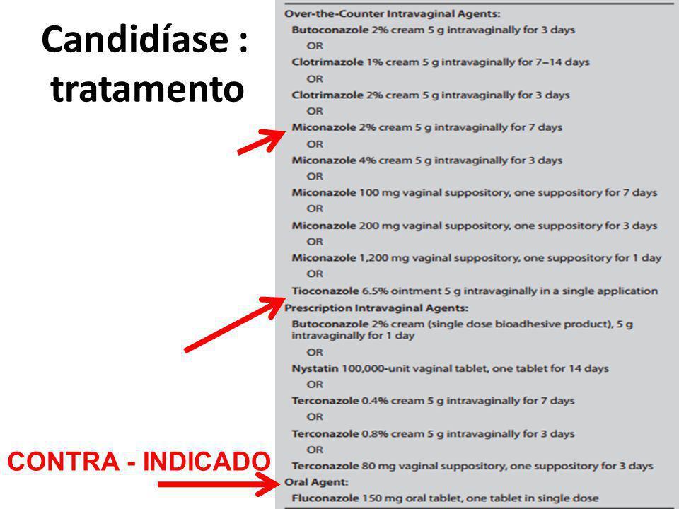 Candidíase : tratamento CONTRA - INDICADO