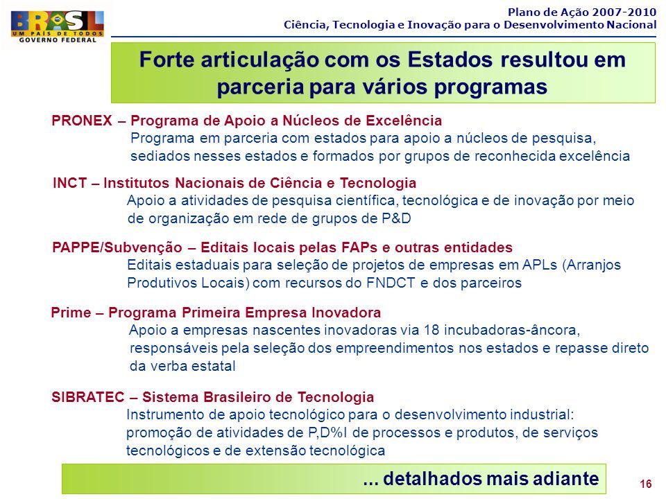Plano de Ação 2007-2010 Ciência, Tecnologia e Inovação para o Desenvolvimento Nacional 16... detalhados mais adiante PAPPE/Subvenção – Editais locais