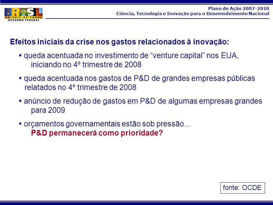 Plano de Ação 2007-2010 Ciência, Tecnologia e Inovação para o Desenvolvimento Nacional Efeitos iniciais da crise nos gastos relacionados à inovação: q