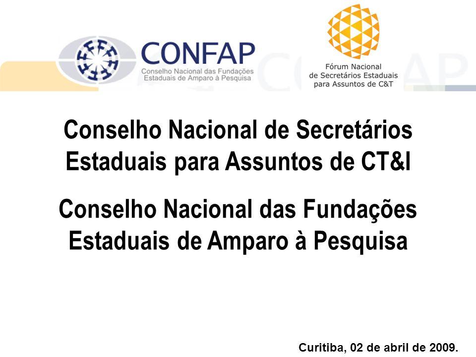 Conselho Nacional de Secretários Estaduais para Assuntos de CT&I Conselho Nacional das Fundações Estaduais de Amparo à Pesquisa Curitiba, 02 de abril