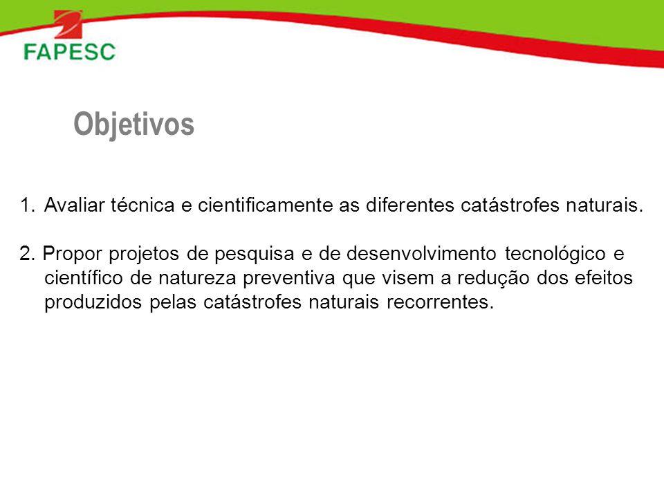1.Avaliar técnica e cientificamente as diferentes catástrofes naturais. 2. Propor projetos de pesquisa e de desenvolvimento tecnológico e científico d