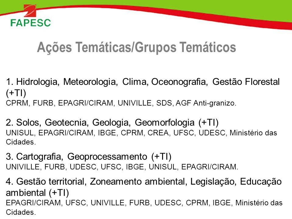 1. Hidrologia, Meteorologia, Clima, Oceonografia, Gestão Florestal (+TI) CPRM, FURB, EPAGRI/CIRAM, UNIVILLE, SDS, AGF Anti-granizo. 2. Solos, Geotecni